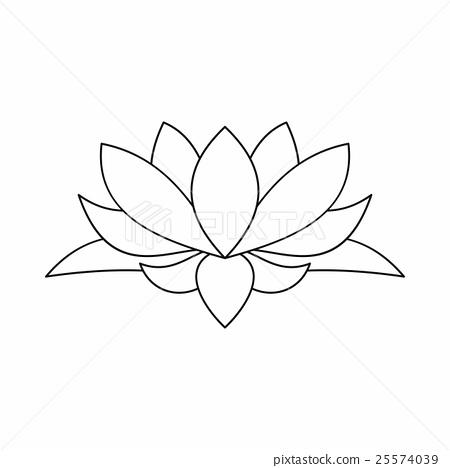 Lotus flower icon outline style stock illustration 25574039 pixta lotus flower icon outline style mightylinksfo