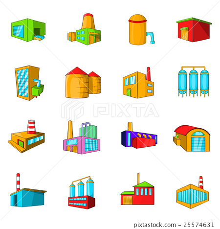 Industrial building plants and factories icons set 25574631