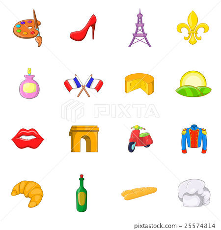 France icons set, cartoon style 25574814