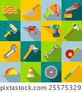Construction icons set, flat style 25575329
