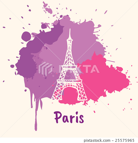 Stock Illustration: French Emotive Motive with architecture attraction
