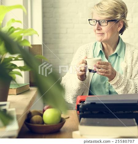 Senior Adult Drinking Water Mug Concept 25580707