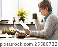 Senior Woman Casual Pensioner Reading Dining Concept 25580732
