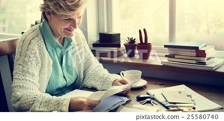 Senior Adult Reading Letter Concept 25580740