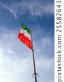 Italian Flag with Pole on Blue Sky with Clouds 25582643