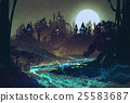 mysterious river,full moon over castles 25583687
