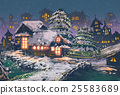 wooden houses with a christmas lights 25583689