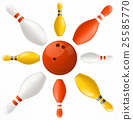Bowling Ball in Center Pins Set. Vector 25585770