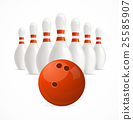 Group of White Bowling Pins and Ball. Vector 25585907