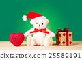 곰 인형과 선물과 하트. 크리스마스 카드 이미지 25589191