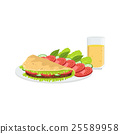 Omlet With Vegetables And Juice Breakfast Food 25589958