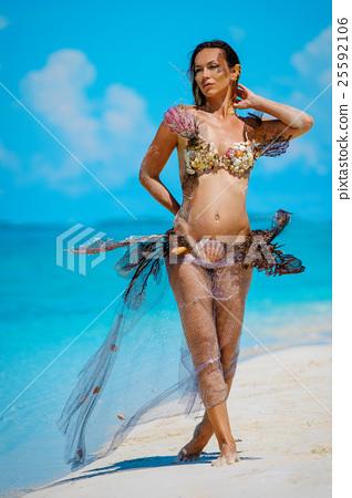 Portrait of exotic fantasy mermaid on the beach 25592106