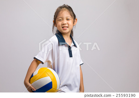 Kid Holding Ball, Isolated on White 25593190