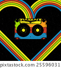 Disco music concept . Heart. Audiocassette 25596031