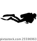 Black silhouette scuba divers. Vector illustration 25596963