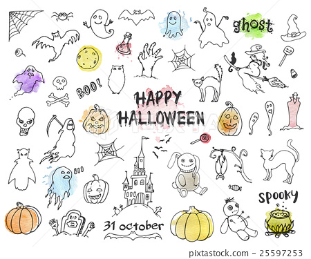 Set of Halloween doodles 25597253
