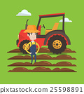 Farmer standing with tractor on background. 25598891