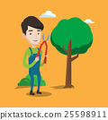 Farmer with pruner in garden vector illustration. 25598911