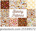 Bakery and pastry desserts seamless patterns set 25599572