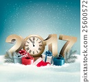 New Year 2017 holiday background with snow  25600572