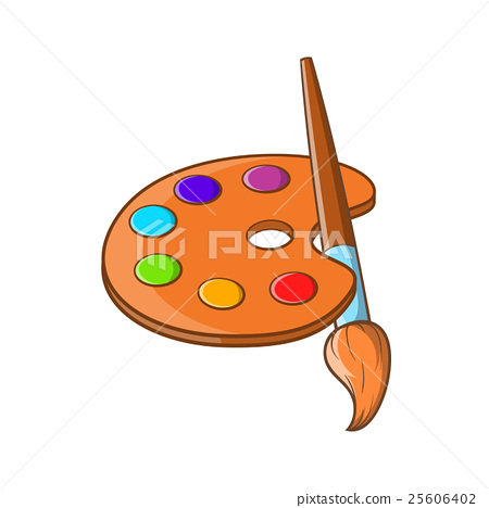 Art Palette With Paint Brush Icon Cartoon Style Stock