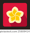 Frangipani flower icon in flat style 25609414