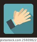 Clapping applauding hands icon, flat style 25609822
