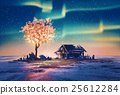 abandoned house and fantasy tree lights 25612284