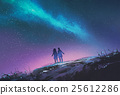 young couple standing against the Milky Way galaxy 25612286