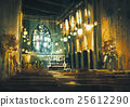 interior view of a church and dramatic light 25612290