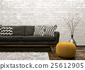 Interior of living room with sofa and pouf 3d 25612905
