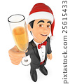 3D Tuxedo man toasting with a glass of champagne 25615433