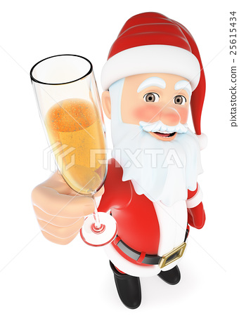 14d25474c8626 3D Santa Claus toasting with a glass of champagne - Stock ...