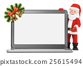3D Santa Claus with blank screen laptop 25615494
