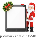 3D Santa Claus with blank screen tablet 25615501