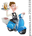 Cartoon Butler Scooter Moped Delivering Souvlaki 25615939