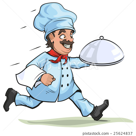 Male chef carries finished dish on platter 25624837
