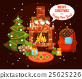 Christmas Holiday Fireplace Illustration 25625226