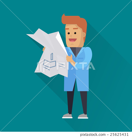 Scientist at Work Vector Flat Style Illustration 25625431