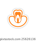 paper sticker on white background tooth in gums 25626136