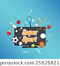 smart television screen with sport equipment floa 25626821