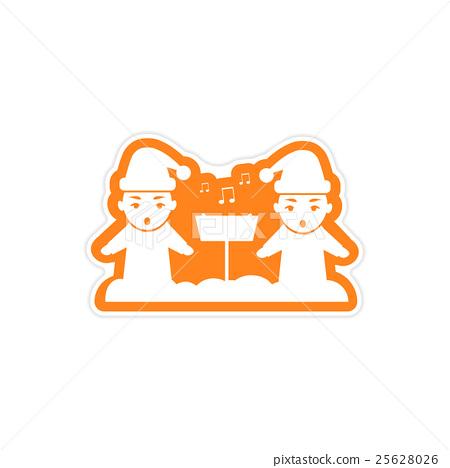 paper sticker on white background children sing 25628026