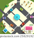Top View Streets and Cars Vector 25629192