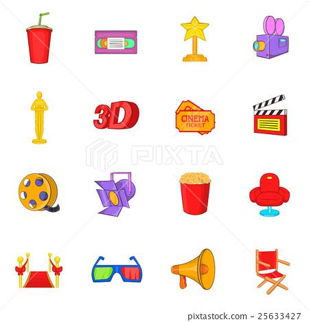 Cinema icons set, cartoon style 25633427