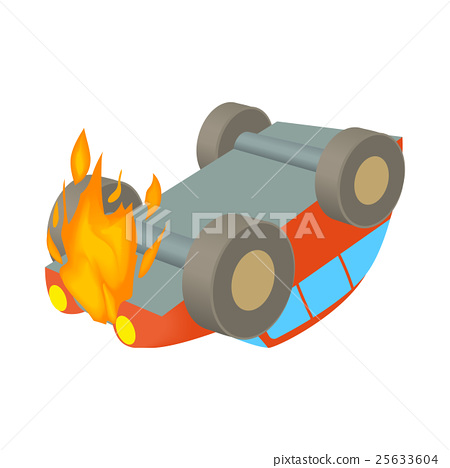 Car is on fire icon, cartoon style 25633604