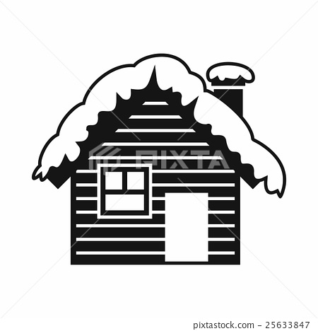Wooden house covered with snow icon, simple style 25633847