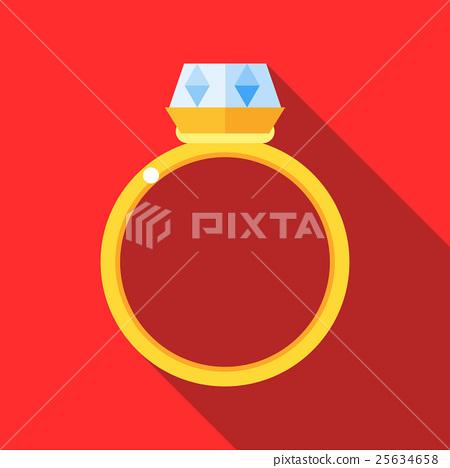 Women wedding ring icon, flat style 25634658