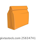 Paper bag with lunch icon, cartoon style 25634741