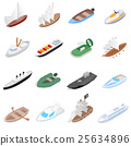 Ship and boat icons set, isometric 3d style 25634896