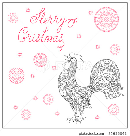 Christmas card with hand drawn decorated  rooster 25636041